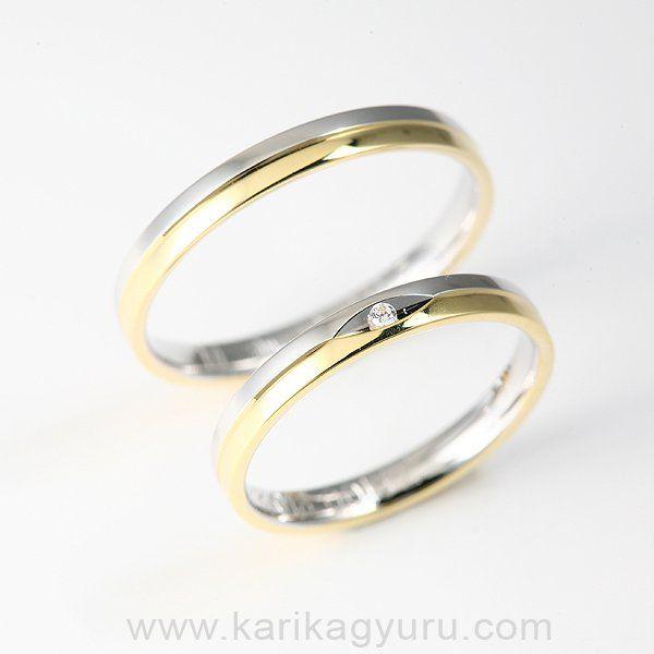 Karikagyűrű Áruház                14 karátos fehér illetve sárga arany karikagyűrű pár kb. 5-6 g-os, a női gyűrűt 0,015ct G/vs minősítésű briliáns díszíti.