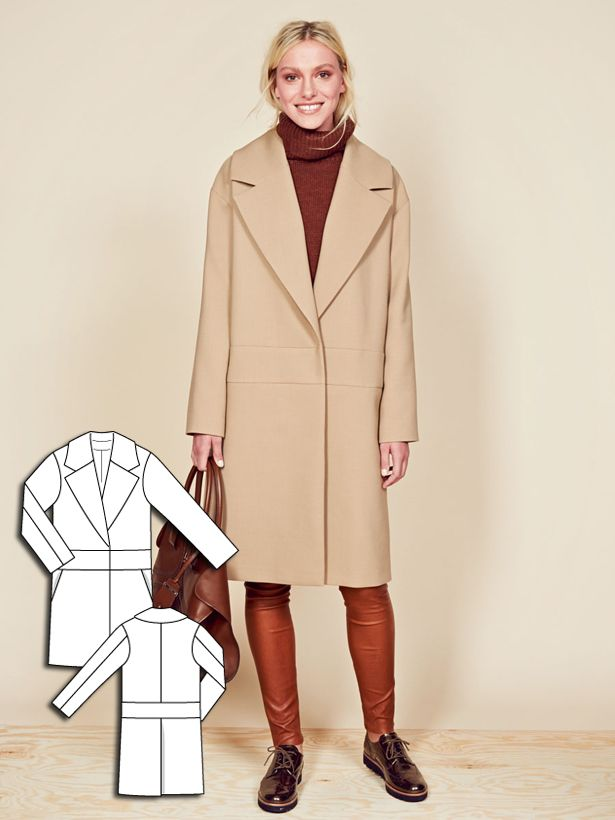 116-112015-B This chic coat takes inspiration from menswear and has wide lapels, dropped shoulders as well as a lowered waist. Hidden snaps preserves the streamlined look of this gorgeous piece.