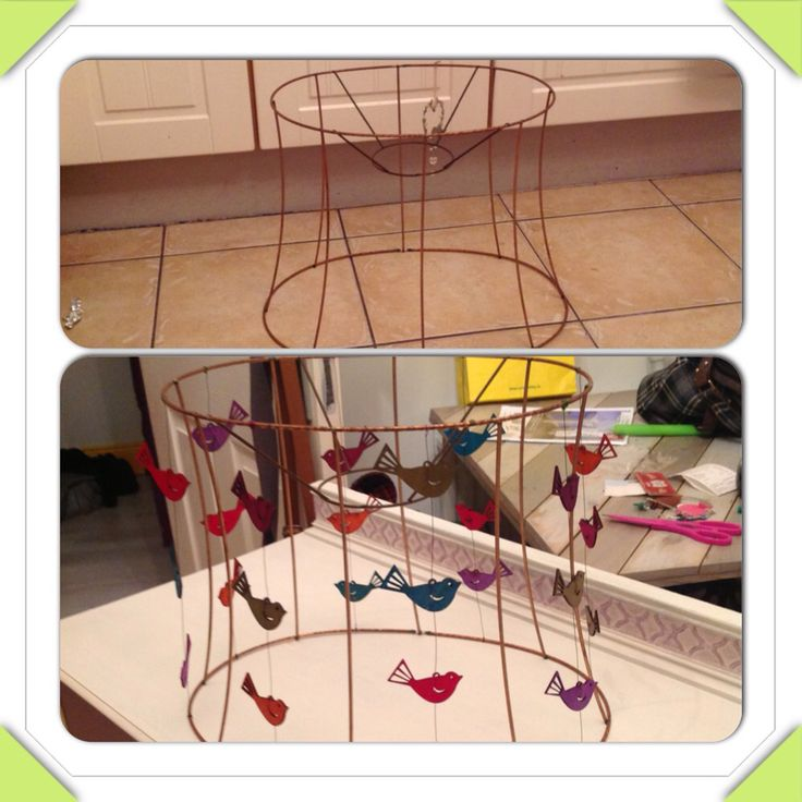 Old lamp shade , coloured wire and wooden birds :)