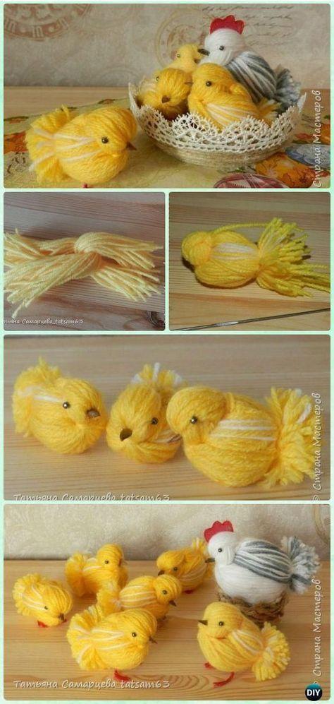 DIY Yarn Chickens Instruction - Yarn #Easter #Crafts No Crochet