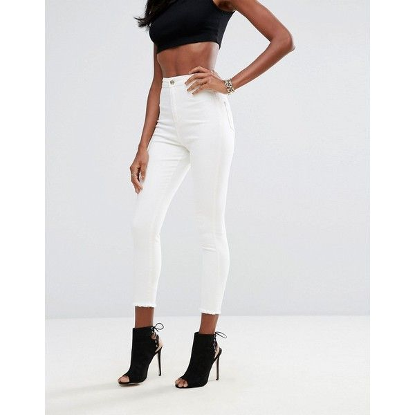 Missguided Vice High Waisted Super Skinny Ankle Grazer Jeans (£23) ❤ liked on Polyvore featuring jeans, white, tall skinny jeans, super skinny jeans, white high waisted jeans, white super skinny jeans and high-waisted skinny jeans