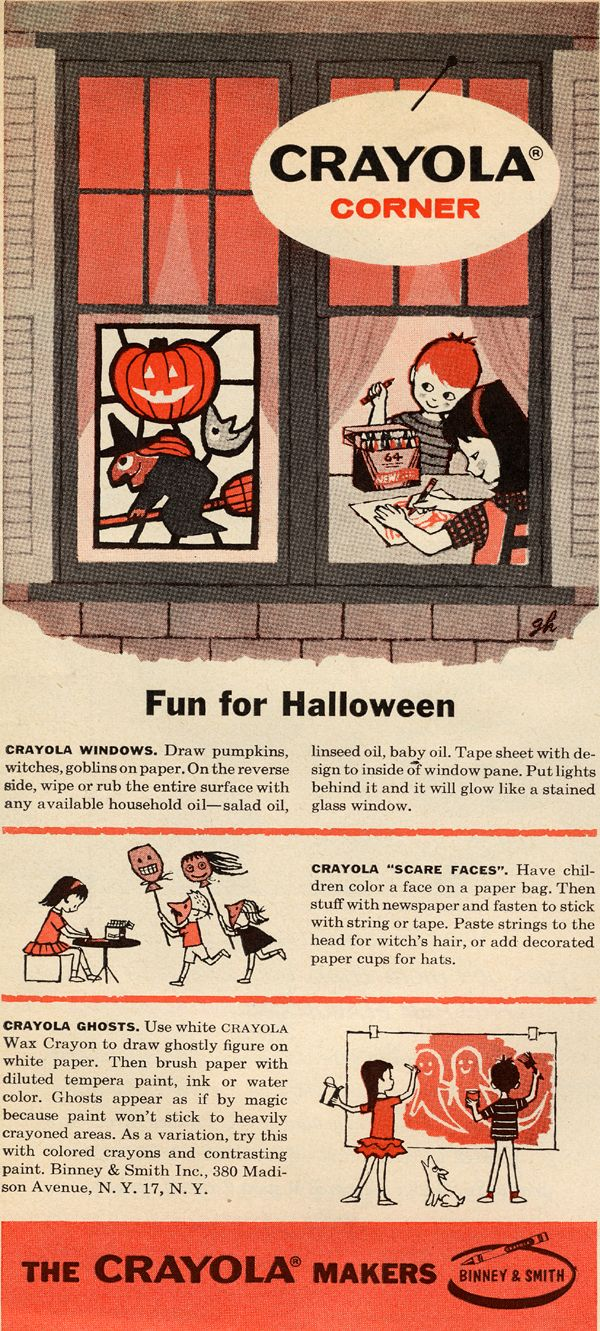 Vintage halloween window decorations - Crayola Crayons 40 Vintage Advertisements For Halloween I Love The Illustration And The Graphic