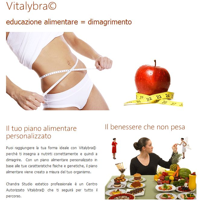 Educazione alimentare   Il tuo piano alimentare personalizzato Vitalybra con CHANDRA Studio estetico professionale