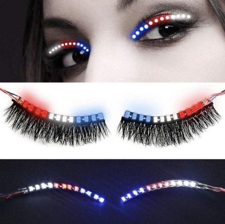 False Eyelashes Uk Luminous Flashing Eyelash Led Light Up Party Shining Eyelid