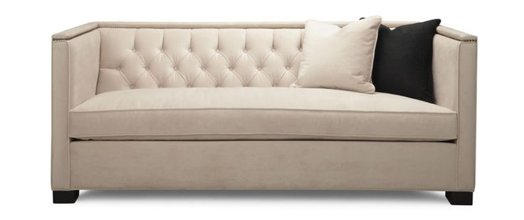 """Harlow Fabric: Bella Pearl Includes two 22"""" x 22"""" toss pillows  SOFA Length (overall) 80"""" Length (inside) 72"""" Depth (overall) 35"""" Depth (seat) 24"""" Height (overall) 32"""" Height (arm) 32"""" Height (seat) 20"""""""
