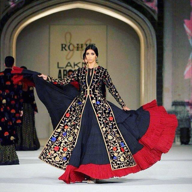 rohitbal_: #rohitbal #LakmeFashionWeek #grandfinale #fashionshow #Lakme #IlluminateandShine #blue #red #gold #floral #motifs #black  #classy #dramatic #elegant #graceful #anarkali #musthave Collection exclusively available at Rohit Bal Palladium & Colaba stores (Mumbai) right after the show. Exclusive Preview on 5th-6th April 2016.