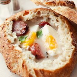 Żurek - (sour rye soup with potato, sausage or an egg, sometimes served in a bread loaf. )