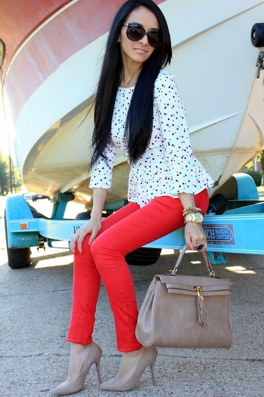 peplum polka-dot top, red skinny pants, nude shoes and handbag