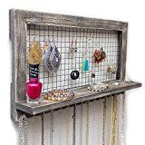 Rustic Wooden Wall Mount Jewelry Organizer for Earrings / Necklaces / Bracelets / Accessories Reviews