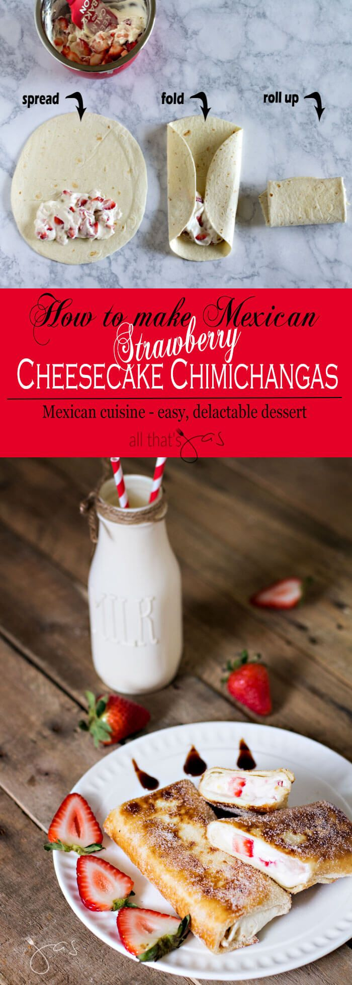 Fried burittos filled with strawberry cheesecake make these chimichangas, an easy and delicious Mexican dessert