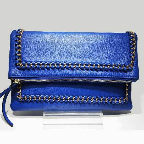 Stunning Designer Inspired Royal Blue Braided Chain Trim Envelope Clutch Bag | eBay
