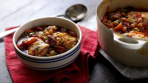 Chorizo, chicken and chickpea casserole |      Simon Rimmer's Spanish style one-pot supper is full of flavour and quick to prepare.