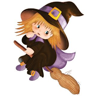 HALLOWEEN CUTE BABY WITCH CLIP ART