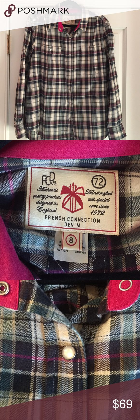 French Connection Plaid Shirt Amazingly soft and comfortable plaid shirt. It has only been worn twice. Beautiful fabric and colors. The buttons are shiny and add great texture to the shirt. A perfect plaid shirt! Great with leggings and boots. French Connection Tops Button Down Shirts