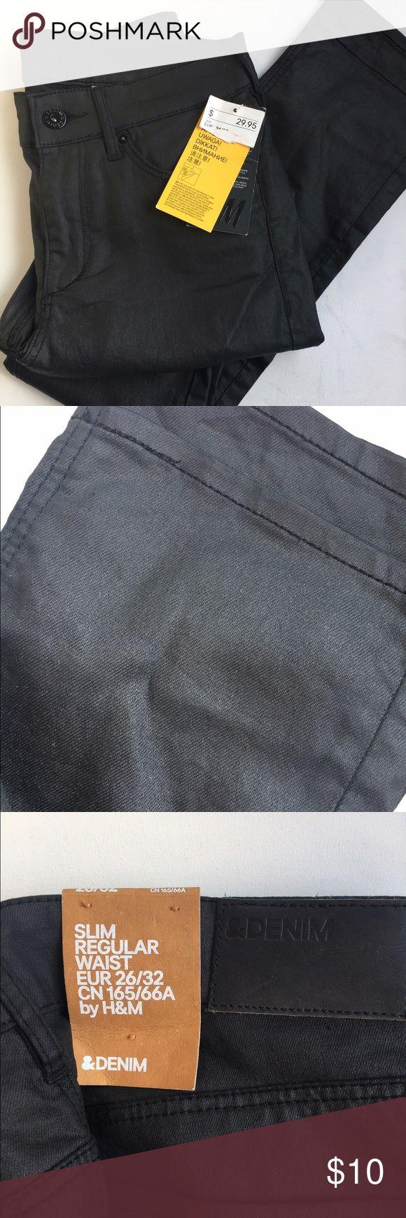 Black h&m coated pants Black h&m coated pants 26 H&M Jeans Skinny