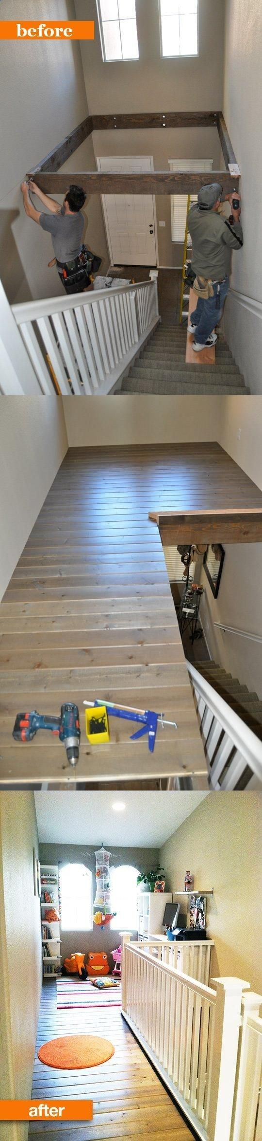 This is SO cool!! Great use of space. Also a great way to get rid of dated two story foyers