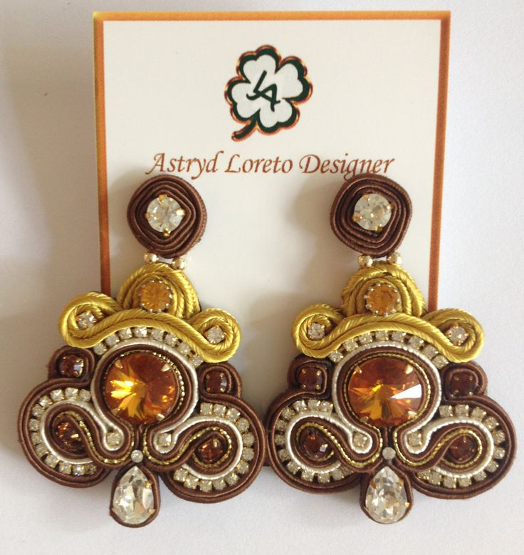 Soutache earrings. Swarovski and Strass crystals handmade