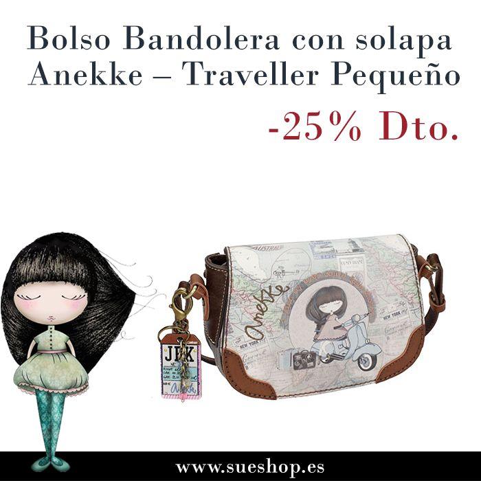 """Bolso Bandolera con solapa Anekke de la colección """"Traveller"""", con compartimento principal con cremallera y cierre de sujección metal popper (cierre metálico). En su interior, varios bolsillos para llevarlo todo bien organizado y un bolsillo en la parte trasera, también con cierre de cremallera.  @sueshop_es #anekke #bolso #bandolera #oferta #descuento #complementos"""