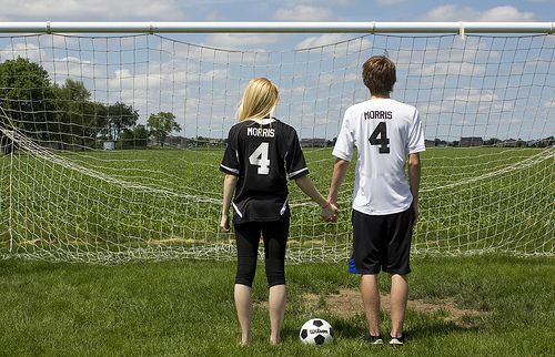 Soccer Couple. I want to do this for a dance picture(: