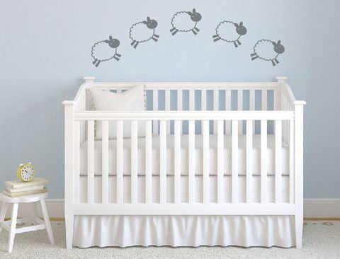 Future reference: website with all sorts of wall vinyls! Counting Sheep Vinyl Wall Decal - Nursery Children Baby