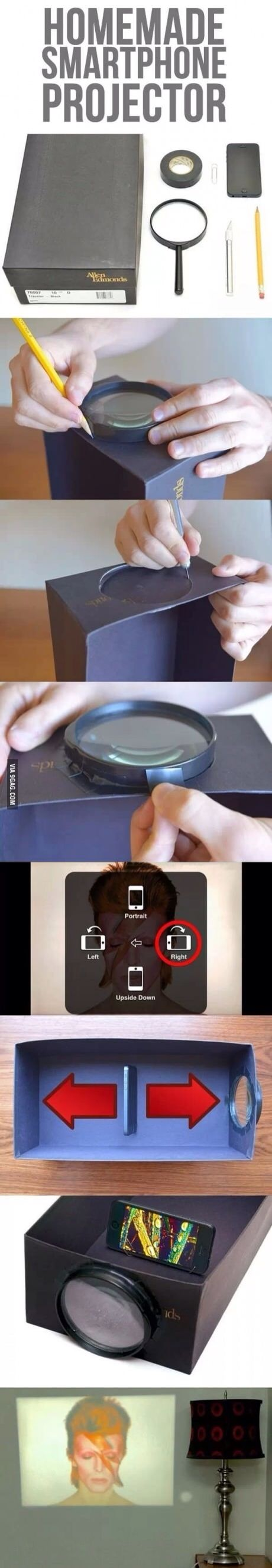 Homemade phone projector.