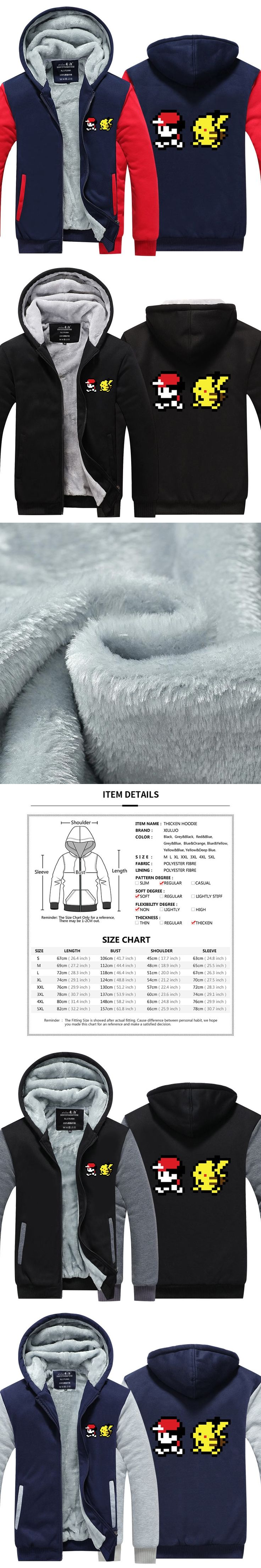 2017 New Arrival Mens Hoodie Winter Pokemon Game Hoodies Pikachu pixel Thicken Fleece Coat Zipper Jacket US EU Plus Size