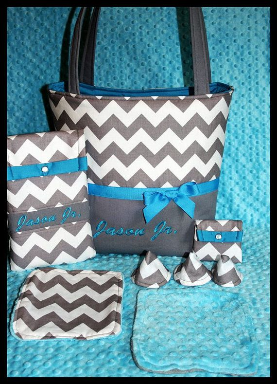 Chevron Gray And Turquoise Boy Monogrammed Diaper Bag By Robrenee 89 99