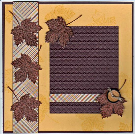 This is actually a scrapbook page from Anne Brown--but add a stamped image & you have a great fall card!