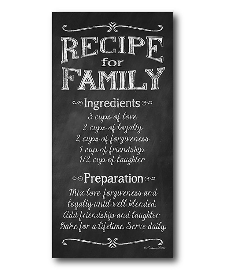 'Family Recipe' Wrapped Canvas