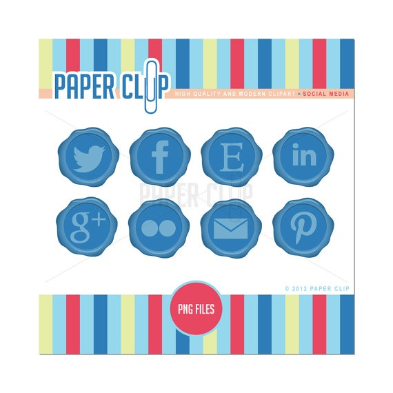 Social Media Icon Pack Web Buttons Buy 2 Get 1 by ShopPaperClip, $3.99