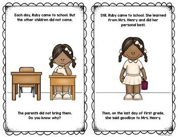 Blackline And Color Included In This Ruby Bridges Reader For Kindergarten FIrst Grade Students