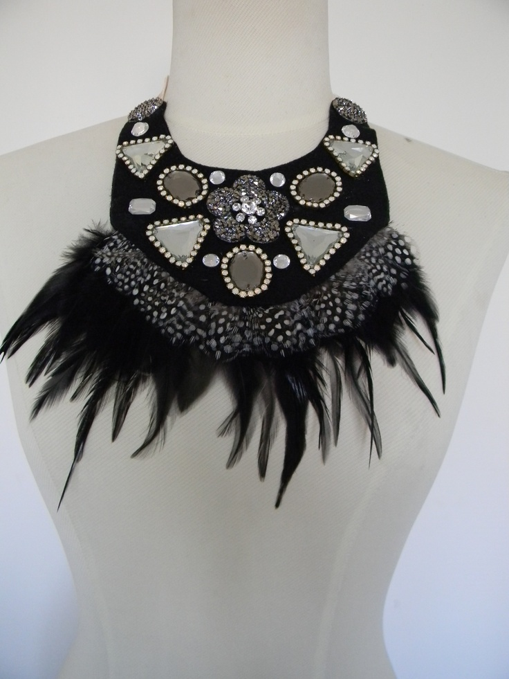 Sonia M Designs Spot feather and jewel Felt collar