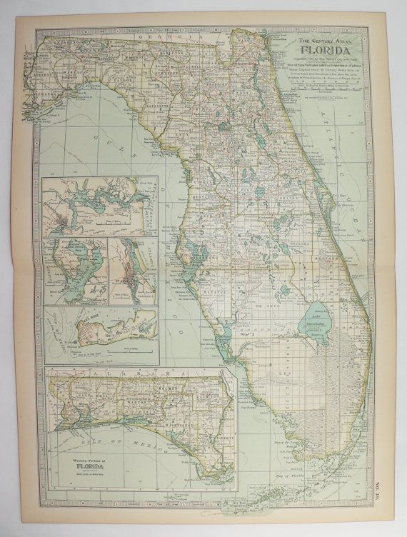 1901 Vintage Map of Florida, 1st Anniversary Gift for Couple, Antique Art Map, Florida Keys Travel Gift, Miami FL Art, Turquoise Blue Map available from OldMapsandPrints on Etsy