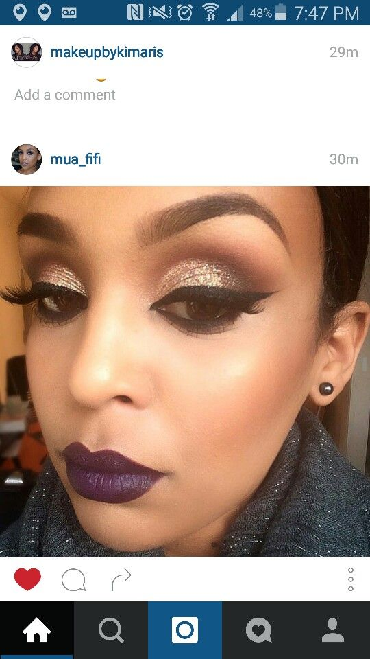 Gorgeous fall makeup - winged liner, MAC nightmoth lip liner, MAC Smoked purple lipstick & Anastasia Beverly Hills eyeshadows