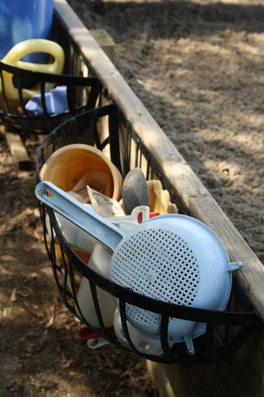 Great outside storage ideas from Jackie  at Happy Hooligans -http://happyhooligans.ca/2013/05/15/backyard-sandbox/