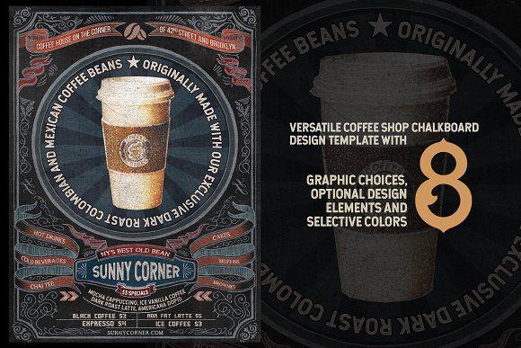 Coffee House ChalkBoard w/8 Graphics by the little wonder shop on @creativemarket #chalkboard #chalkmenu #chalk #coffee