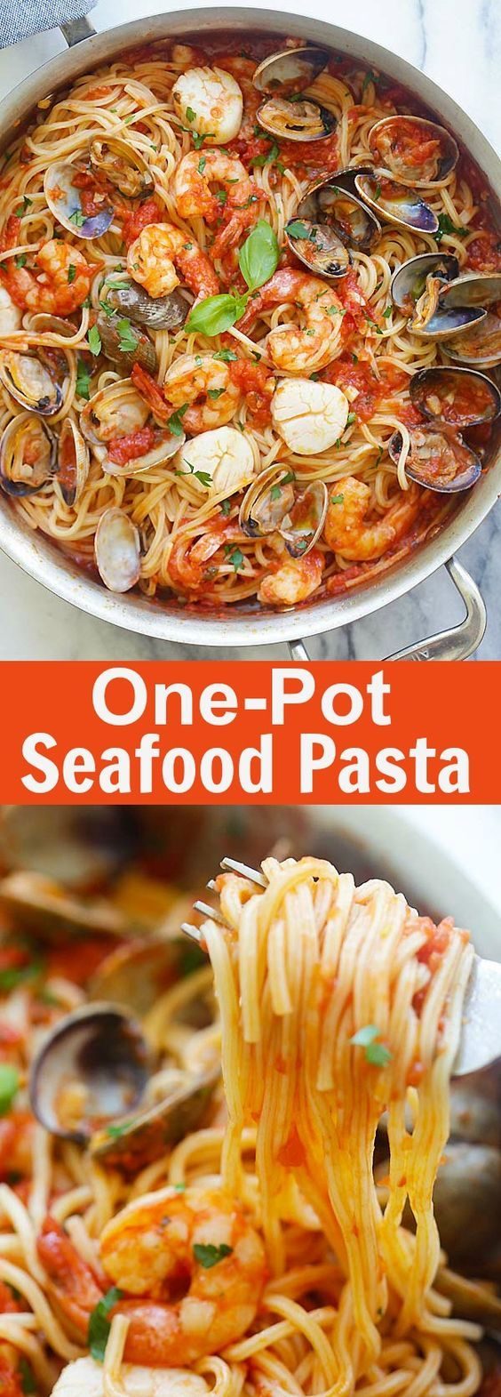 ^^ One Pot Seafood Pasta – easy seafood pasta cooked in one pot. Quick and delicious dinner that you can whip up in less than 30 mins | rasamalaysia.c