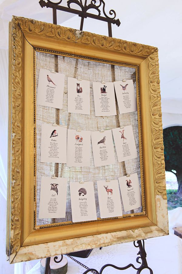 Countryside birds and animals inspired table plan, from 'A Downton Abbey, Edwardian Garden Party Inspired Wedding'  Photography http://www.julieanneimages.com/