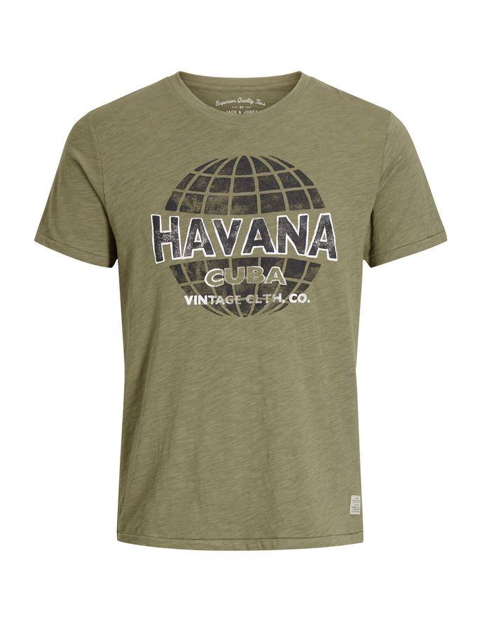 Havana Cuba, washed down printed t-shirt for a vintage look. Slim fit in pure cotton for a soft feel and breathability. Wear it with some distressed blue jeans and leather boots | JACK & JONES #vintage #tee