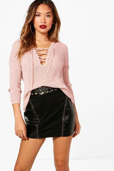 Karina Lace Up Loose Knit Jumper by Boohoo. Nail new season knitwear in the jumpers and cardigans that are cosy yet coolGo back to nature with your knits this season and add animal motifs to your must-haves. When you're not wrapping up in woodland warmers, nod to chunky Nordic kni... #boohoo