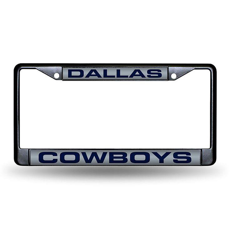 Football Fan Shop Laser-Engraved Black License Plate - Dallas Cowboys