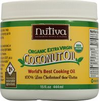Nutiva Organic Extra Virgin Coconut Oil... I use this as my body moisturizer, hair mask, and makeup remover