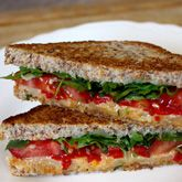 ... red peppers AND Grilled goat cheese sandwich with honey and figs