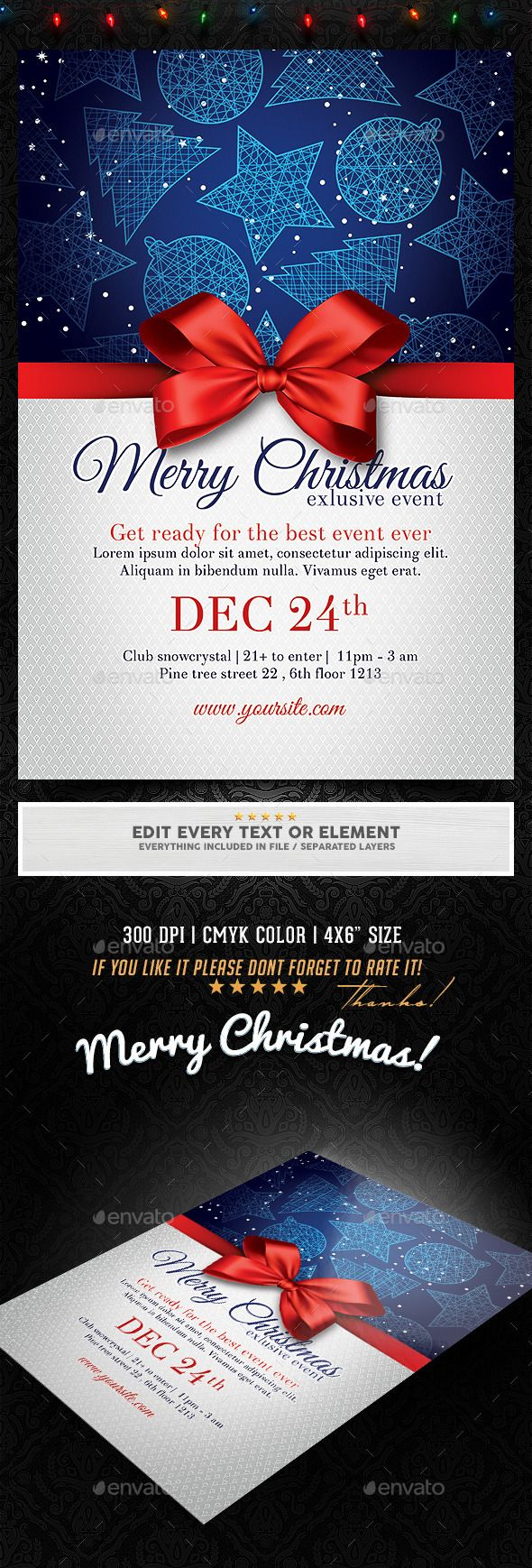 Christmas Invitation / Party Flyer Template PSD | Buy and Download: http://graphicriver.net/item/christmas-invitation-party-flyer/9741609?ref=ksioks