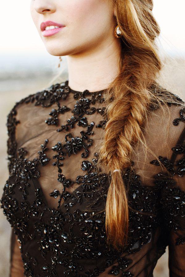 fishtail braid, photo by This Modern Romance http://ruffledblog.com/wheat-nouveau-wedding-inspiration #weddinghair #hair #braids