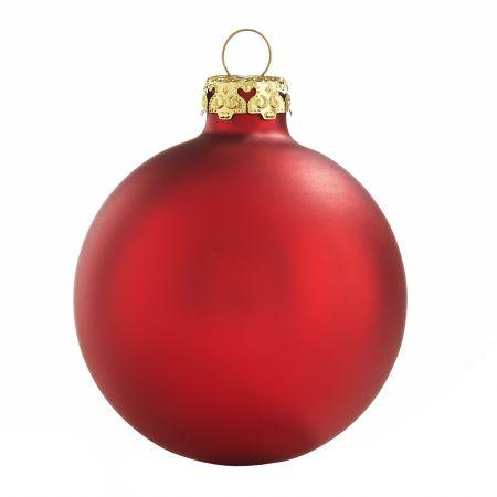 Rote Weihnachtskugeln aus Glas 4er Set 8cm Seidenmatt