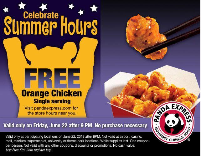 Free orange chicken Friday after 9pm at Panda Express