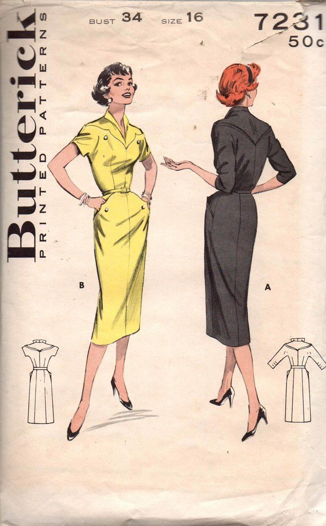 Butterick 7231 Womens 1950s Dew Drop Yoke Wiggle Dress Vintage Sewing Pattern Size 16 Bust 34 inches