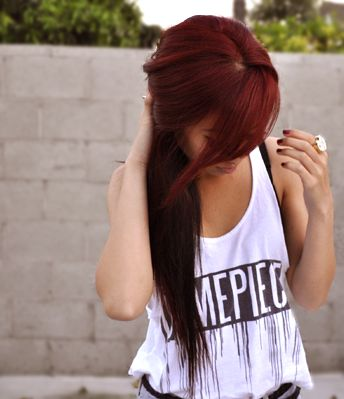 Love the colorDark Red Hair, Red Hair Colors, Haircolor, Makeup, New Hair, Shades Of Red, Side Bangs, Hair Style, Redhair