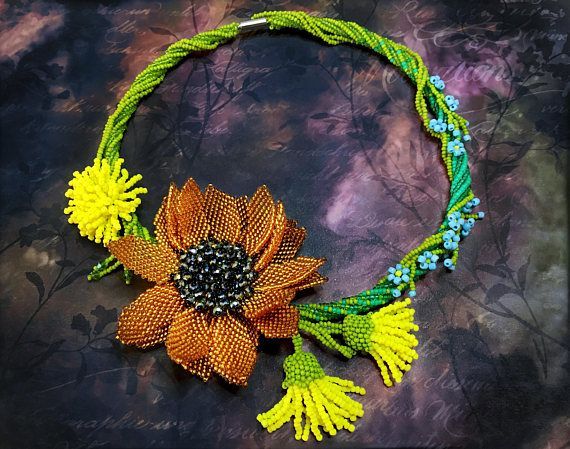 Beaded floral necklace Summer Ambers by Gemsplusleather - 171.71€ #Gemsplusleather #jewellery #handmade #art #artisan #beaded #jewelry #necklace #sunflower #beads #beaded #statementjewelry #seedbeads #dandelion #forgetmenot #floral #prom #flower #blossom #summer